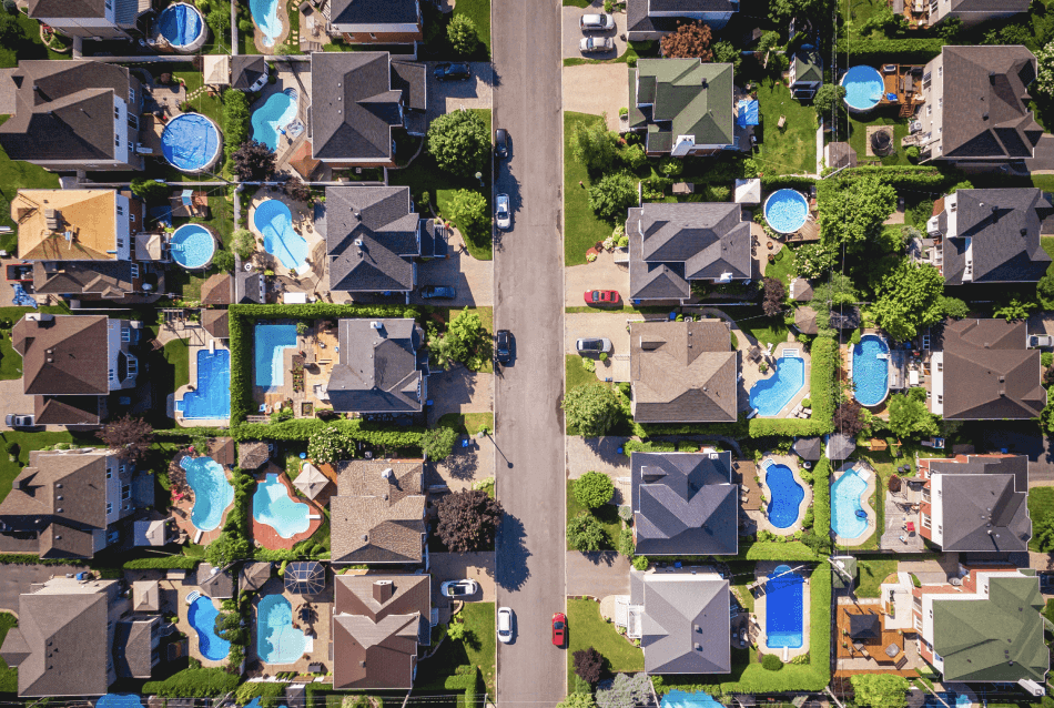 drone view of houses rooftoops