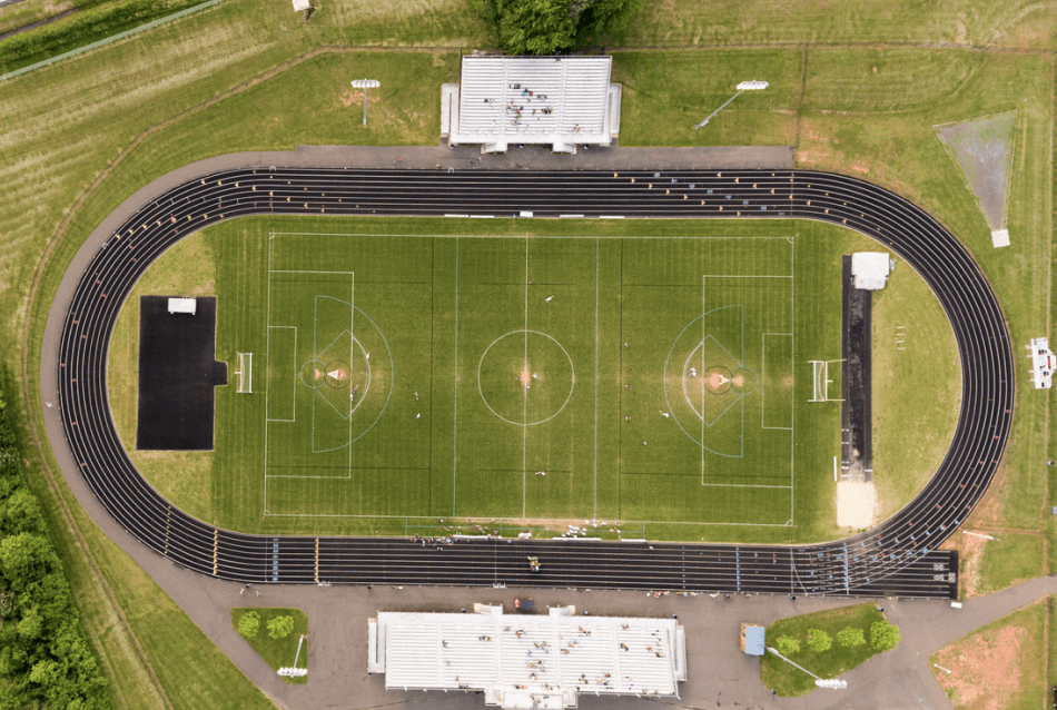 drone view of an american football field