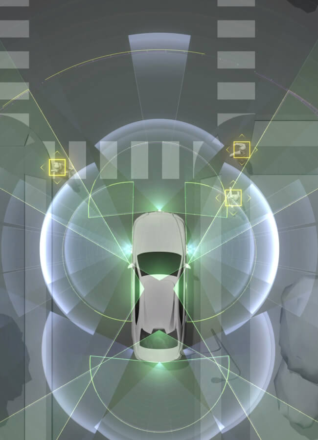Toyota's car viewed from the top showing the different LiDAR sensors