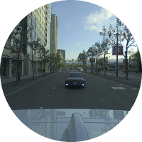 street view from inside a car